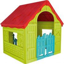 Сгъваема пластмасова къща за игра Keter Wonderfold, Зелена/Червена/Синя