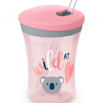 NUK EVOLUTION Action Cup със сламка, 12+ мес. Girl